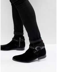 House Of Hounds - Axel Embossed Velvet Buckle Boots In Black - Lyst