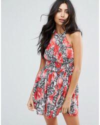 ASOS - Rose Lace Print High Neck Waisted Beach Dress - Lyst