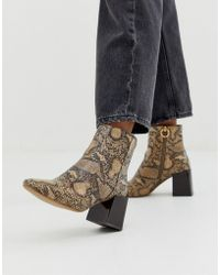 a33bf1739 ASOS - Reed Heeled Ankle Boots In Natural Snake - Lyst