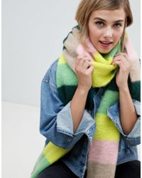 ASOS Oversized Brushed Scarf In Stripe With Tassels - Green