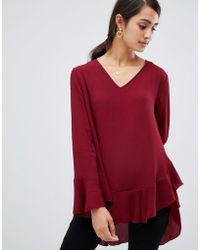 Girls On Film - V Neck Top With Frill Sleeve - Lyst