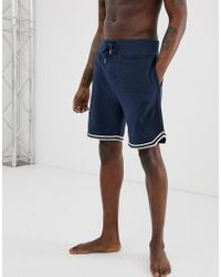 DIESEL Logo Lounge Tipped Sweat Shorts In Navy