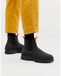 ASOS - Chelsea Trainer Boots In Black Leather With Chunky Sole - Lyst