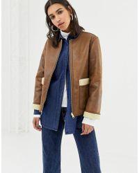 Warehouse - Reversible Borg Jacket In Tan - Lyst