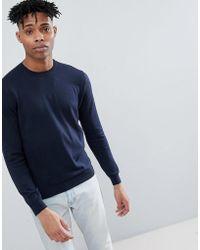 Benetton - Crew Neck Knit Jumper 100% Cotton In Navy - Lyst