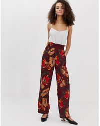 Brave Soul Tara Trousers In Floral Print - Red