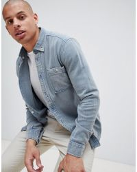 ASOS - Brushed Twill Overshirt In Blue - Lyst