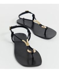 54fbbe7d602 Lyst - ASOS Fennel Wide Fit Chunky Flat Sandals in Black