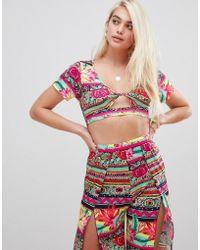 ASOS Beach Wrap Jersey Crop Top In Tropical Tile Print Coord - Multicolor