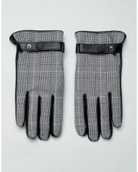ASOS - Leather Prince Of Wales Check Touchscreen Gloves In Black - Lyst
