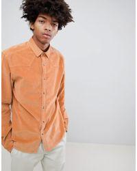 ASOS - Design Stretch Slim Western Cord Shirt In Pale Orange - Lyst
