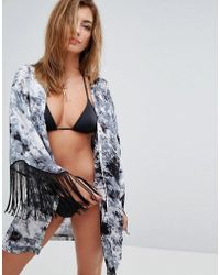 Liquorish - Abstract Print Cover Up With Arm Fringe - Lyst