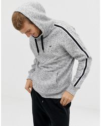 Hollister - Side Taping Seagull Logo Hoodie In Grey Marl - Lyst