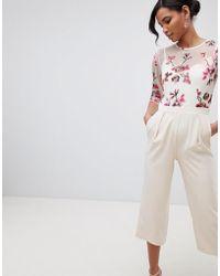 1b950ce871 Little Mistress - Embroidered Top Culotte Jumpsuit In Cream Multi - Lyst
