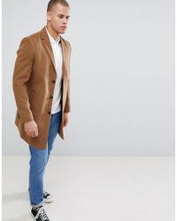 New Look - Over Coat In Camel - Lyst