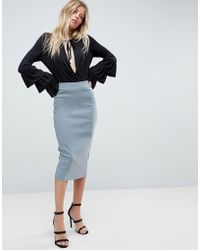ASOS - High Waist Longerline Pencil Skirt - Lyst