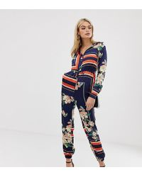 Missguided - Exclusive Tall Long Sleeved Jumpsuit In Mixed Print - Lyst