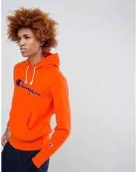 Champion - Hoodie With Large Logo In Orange - Lyst