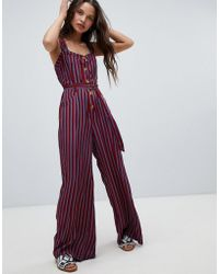 Free People - City Girl Stripe Jumpsuit - Lyst