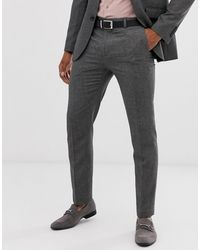 Burton Slim Suit Trousers In Mini Grey Check - Gray