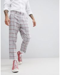 ASOS - Design Tapered Smart Trouser In Light Grey Wool Mix With Red Check - Lyst
