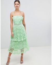 True Decadence - Square Neck Cami Strap Midi Lace Dress With Ruffle Layered Skirt - Lyst