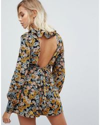 Fashion Union | Playsuit With Low Back In Floral Print | Lyst