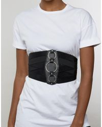 ASOS - Wide Elasticated Corset Belt With Ring Detail - Lyst