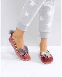 972c48e016eeac Ted Baker - Bellamo Pink Velvet Bunny Slippers - Lyst