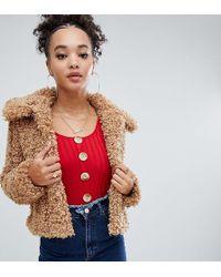 Boohoo - Teddy Faux Fur Cropped Jacket In Camel - Lyst