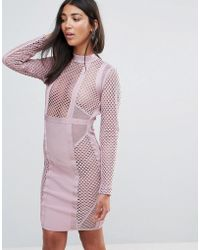 Amy Lynn - Occasion Long Sleeve Paneled Bandage Dress - Lyst