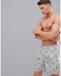 SELECTED - Printed Swim Shorts - Lyst