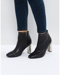 Sol Sana - Alicia Black Studded Heeled Ankle Boots - Lyst
