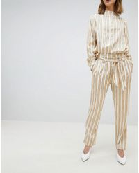 SELECTED - Metallic Striped Wide Leg Pants With Belt - Lyst