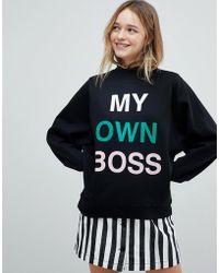 Monki - My Own Boss Sweatshirt - Lyst