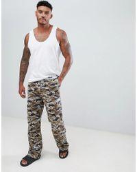 ASOS - Straight Pyjama Bottom In Camo Print In Organic Cotton - Lyst
