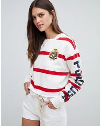 Polo Ralph Lauren - Bring It Back Pack Stripe Cropped Sweat - Lyst