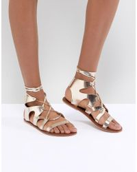 Warehouse - Ankle Tie Leather Gladiator Sandals - Lyst