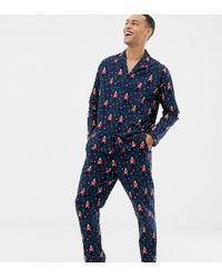 ASOS - Mr & Mrs Christmas Woven Pyjama Set With Nutcracker Design - Lyst
