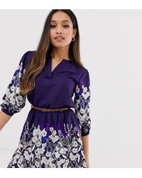 Yumi' Belted Dress With 3/4 Sleeves In Floral Border Print - Blue