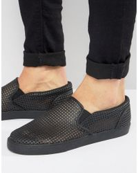 ASOS | Slip On Plimsolls In Black With Perforation | Lyst