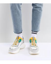 Bronx - Yellow & Green Suede Chunky Trainers - Lyst