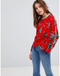 Glamorous - Top With Wide Ribbon Tie Sleeves In Floral - Lyst