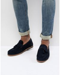 ASOS - Design Tassel Loafers In Navy Suede With Natural Sole - Lyst