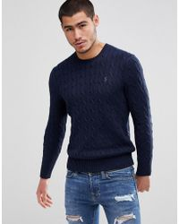 Polo Ralph Lauren - Polo Ralph Cotton Cable Knit Jumper Player Embroidery In Navy Marl - Lyst