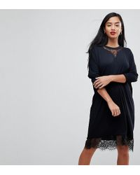 3b10012ed6 ASOS - Oversize T-shirt Dress With Batwing Sleeve And Lace Inserts - Lyst