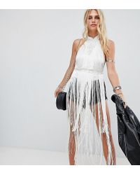 A Star Is Born - Going Out High Neck Rope Detail Bodysuit With Fringing - Lyst