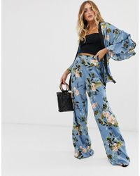 Missguided - Co-ord Satin Wide Leg Trousers In Blue Floral Print - Lyst