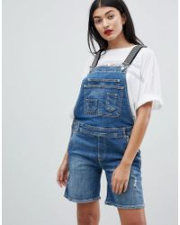 Pepe Jeans - Overall Shortall With Stripe Straps - Lyst