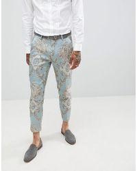ASOS DESIGN - Skinny Crop Suit Pants In Duck Egg Jacquard - Lyst
